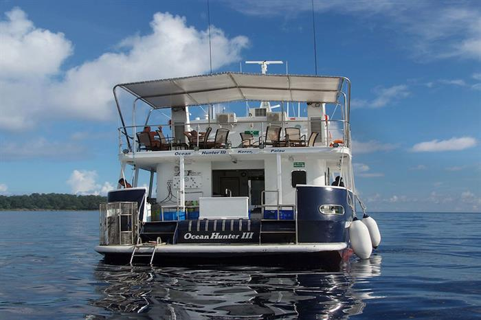 Rear of Ocean Hunter 3 showing dive deck/platform